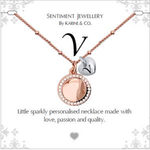 """Sentiment initial """"V"""" two tone necklace"""