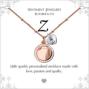 """Sentiment initial """"Z"""" two tone necklace"""