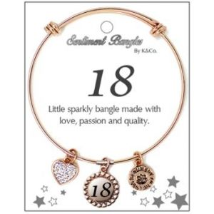 Sentiment 18 Initial Rose Gold Bangle