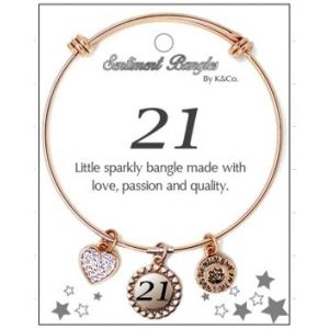 Sentiment 21 Initial Rose Gold Bangle