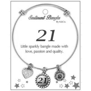 Sentiment 21 Initial Silver Bangle