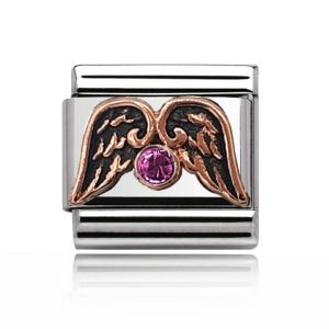Charmlinks Rose Gold on Silver Wings and Tourmaline Charm