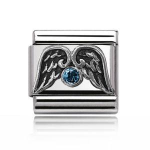 Charmlinks Silver Aquamarine and Wings Charm