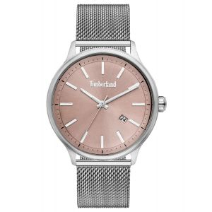 Timberland Allendale Watch with silver stainless steel mesh strap and grey dial