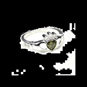 sterling silver & peridot cz crystal august birthstone claddagh ring
