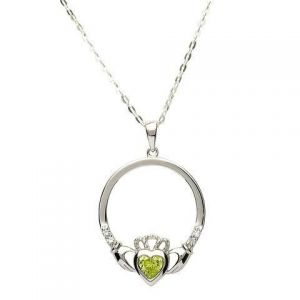 Sterling Silver Claddagh necklace, with Peridot August birthstone