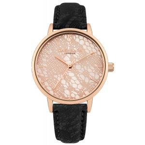 Daisy Dixon MAE Watch Rose Gold Dial With Black PU Strap With LACE PRINT