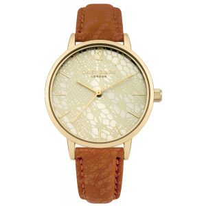 Daisy Dixon MAE Watch Gold Dial With BROWN PU Strap With LACE PRINT