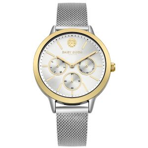 Daisy Dixon Mesh Strap With  Gold Bezel And Silver Multi Dial