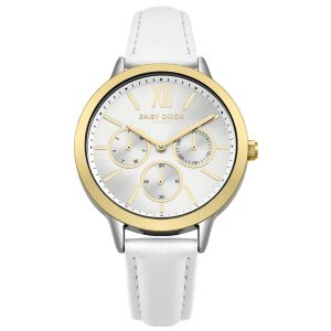 Daisy Dixon HEIDI * Watch With Multi Eye Silver Sunray Dial With Gold Sub Dial, White Leather Strap