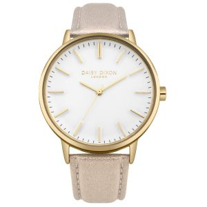 Daisy Dixon Harper Gold Metallic Strap With Overside Gold case And White Dial.