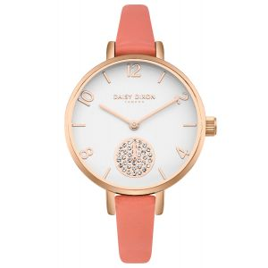 Daisy Dixon Alice Coral Skinny Strap With White Dial And Stone Set Sub Dial