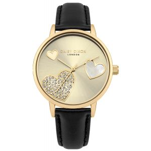 Daisy Dixon Hollie Heart Dial With Stone Detail With Black Leather Strap And Gold Case