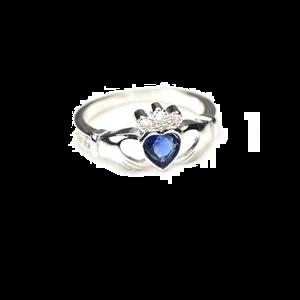 sterling silver & tanzanite cz crystal december birthstone claddagh ring