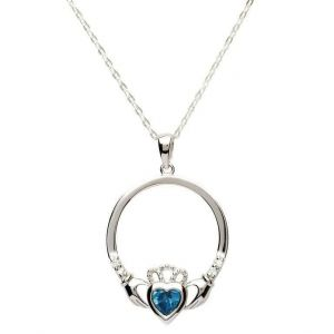 Sterling Silver Tanzanite Claddagh necklace