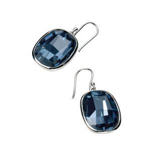 Elements Jewel Graphic Stone Denim Blue Swarovski Crystal Earrings