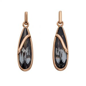 Elements Jewel Swarovski Silver Nightshade Rose Gold Drop Earrings