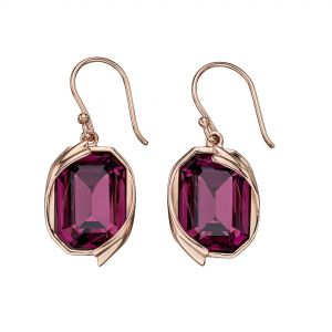 Elements Jewel Amethyst Swarovski Rose Gold Ribbon Detail Earrings
