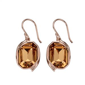 Elements Jewel Colorado Topaz Swarovski Crystal Rose Gold Ribbon Detail Earrings
