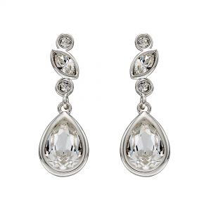 Elements Jewel Silver and Swarovski Crystal Bridal Earrings