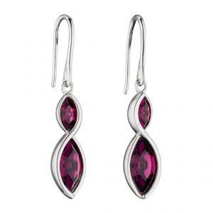 Fiorelli Amethyst Navette Twist Earrings