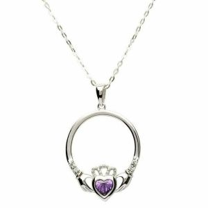 Claddagh necklace with purple February birthstone