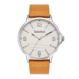 Timberland Glencove Watch with Wheat Leather Strap and Matt Off White Dial