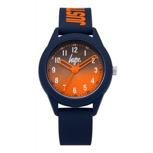 "Navy blue soft touch silicone strap with orange ""JUST HYPE"" branding and a graduated navy blue to orange dial"