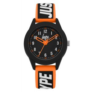 "Black soft touch silicone strap with white ""JUST HYPE"" branding featuring an orange border and matte black dial"