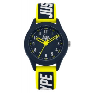 "Blue soft touch silicone strap with white ""JUST HYPE"" branding featuring a yellow border and matte blue dial"