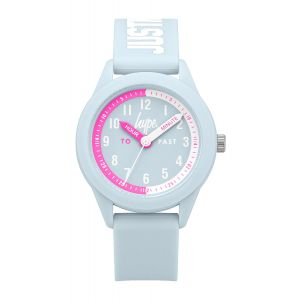 """Blue soft touch silicone strap with white """"JUST HYPE"""" branding and a blue dial featuring a time teacher design"""