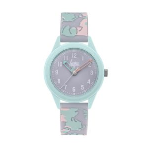 Hype Kids Mint Lilac and Pink Silicone Strap with Unicorn Print and Lilac Dial