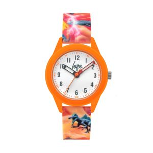 Hype Kids Orange Silicone Strap Watch with Dinosaur Print and White Dial
