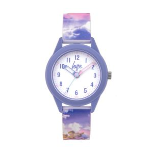 Hype Kids Lilac and Pink Silicone Strap with Angel Print and White Dial