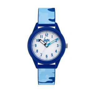 Hype Kids Blue Camo Silicone Strap Watch with White Dial
