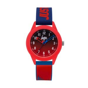 Hype Kids Blue and Red Paint Drip Pattern Silicone Strap with Graduated Navy to Red Dial