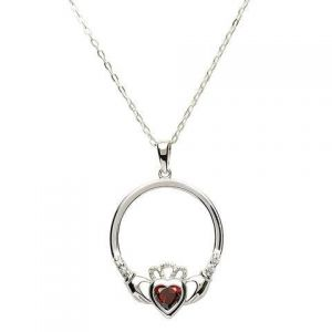 Sterling silver claddagh necklace with garnet January birthstone