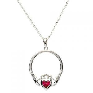Sterling silver claddagh necklace set with ruby red July birthstone