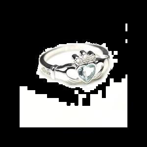 sterling silver & moonstone june birthstone claddagh ring