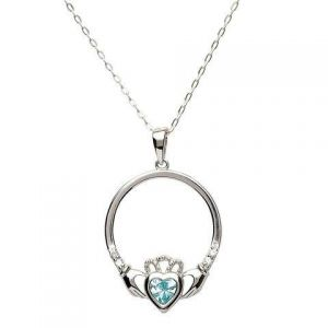 Sterling silver claddagh necklace with aquamarine march birthstone