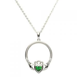 Sterling silver emerald green may birthstone claddagh necklace