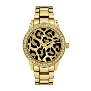 Missguided Gold Bracelet with Leopard Glitter Printed Dial watch