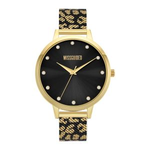 Missguided Gold and Black Leopard Printed Mesh Strap