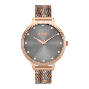 Missguided Rose Gold and Grey leopard printed Mesh Strap