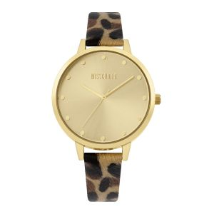 Missguided Leopard Print Strap with Gold Sunray Dial watch