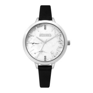 Missguided Black Strap with Silver Case and Marble Print Dial watch