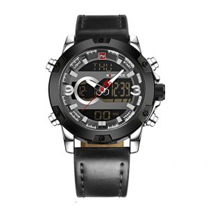Naviforce Dual Display Men Chronograph Leather Watch