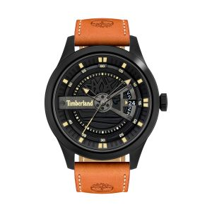 Timberland Northbridge Watch with Brown Leather Strap and Jet Black Dial