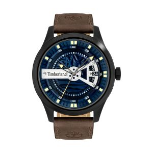 Timberland Northbridge Watch with Dark Brown Leather Strap and Blue Dial