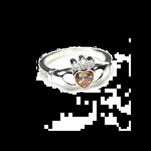 sterling silver & citrine cz crystal november birthstone claddagh ring